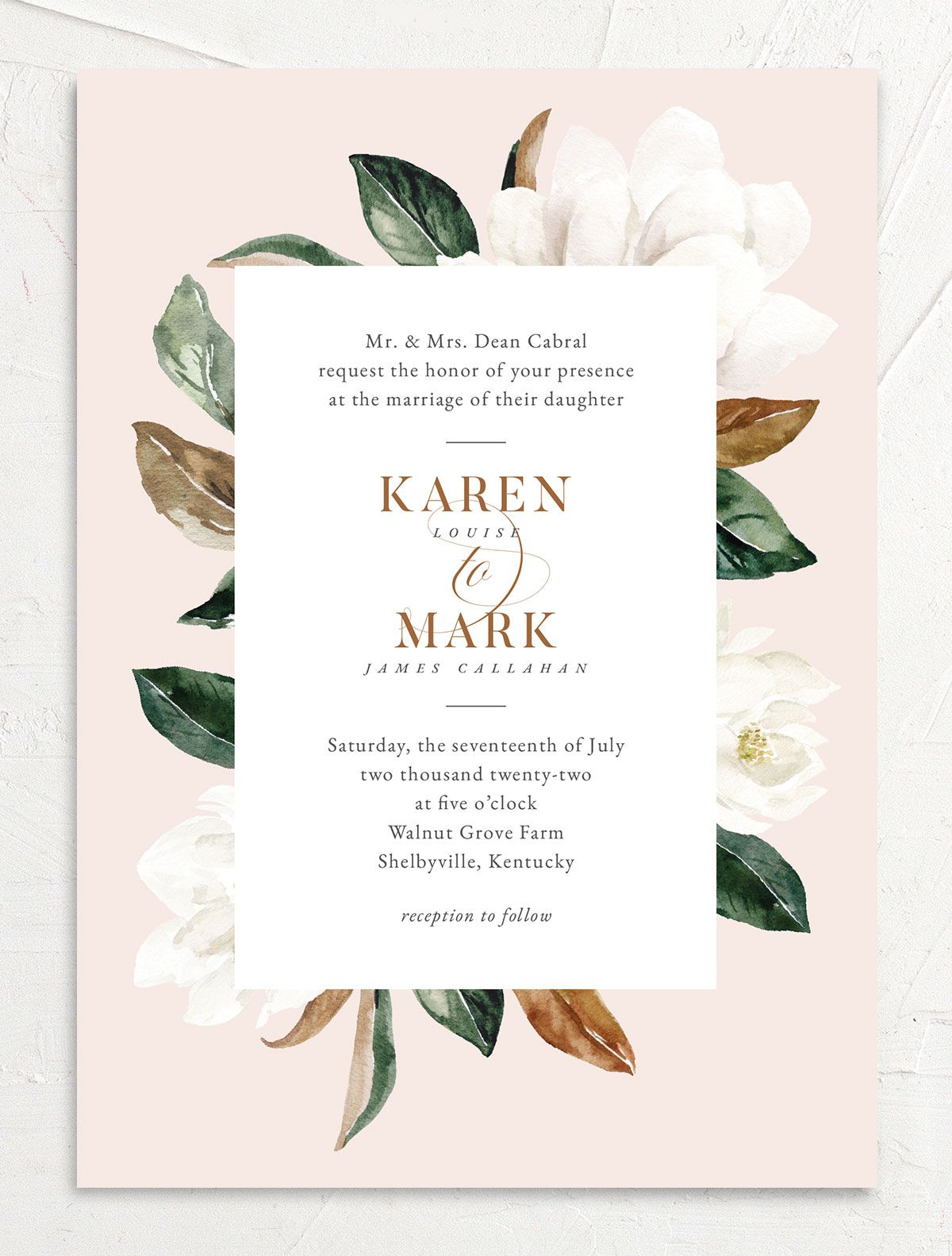 Painted Magnolia Wedding Invitation front in pink