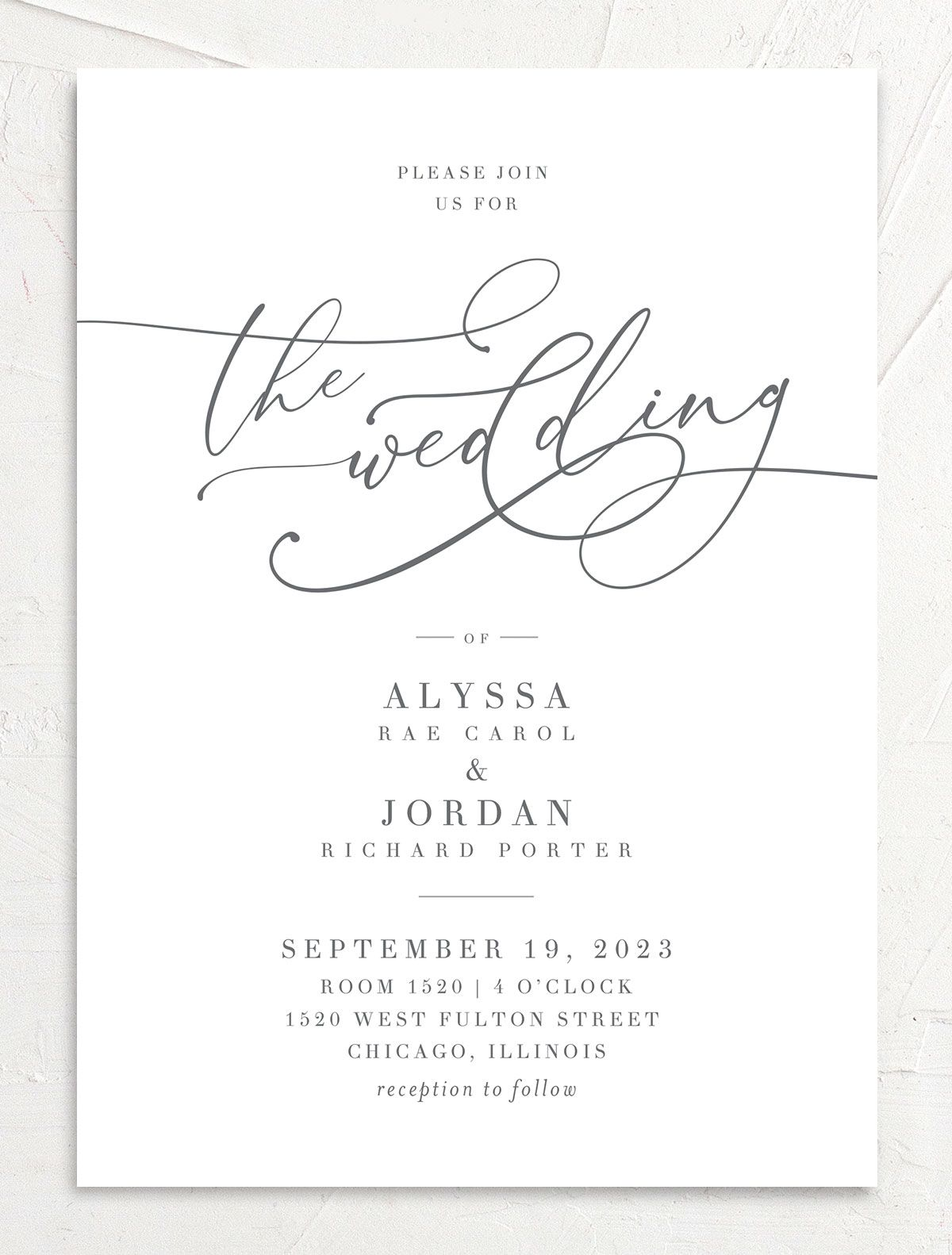 Romantic Calligraphy Wedding Invitation front