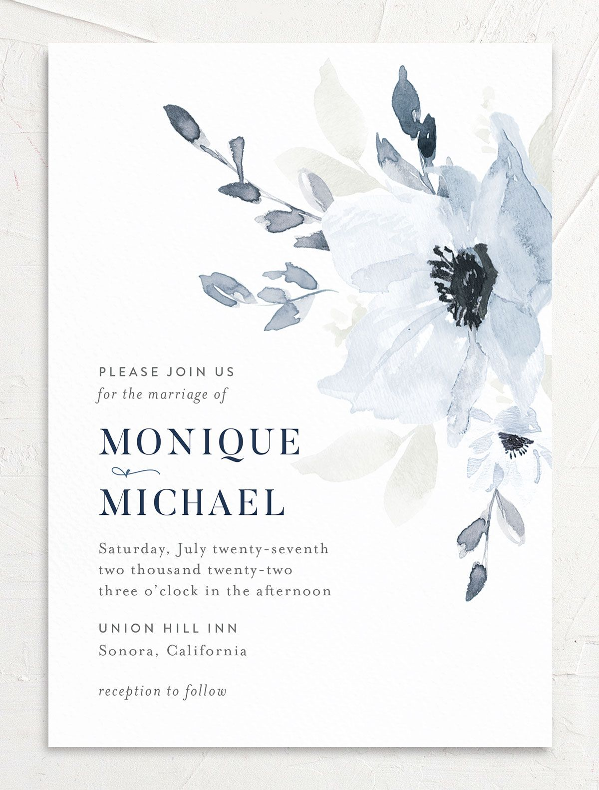 Shades of Blue Wedding Invitation front