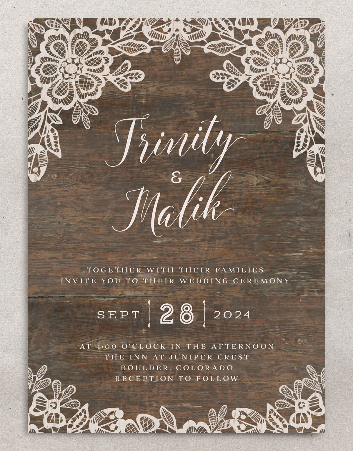 Woodgrain Lace Wedding Invitation front