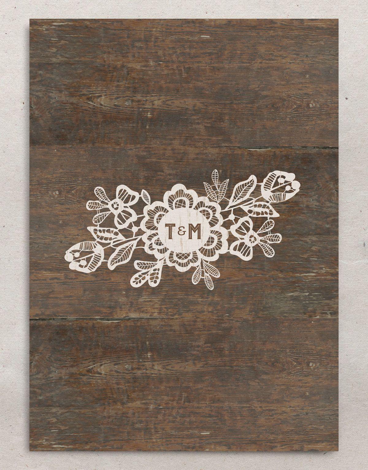 Woodgrain Lace Wedding Invitation back