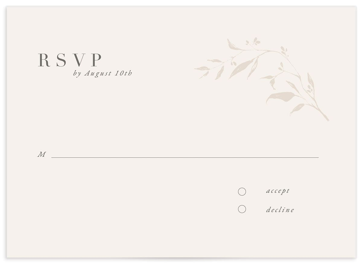 Rustic Minimal Wedding Response Card front closeup in white