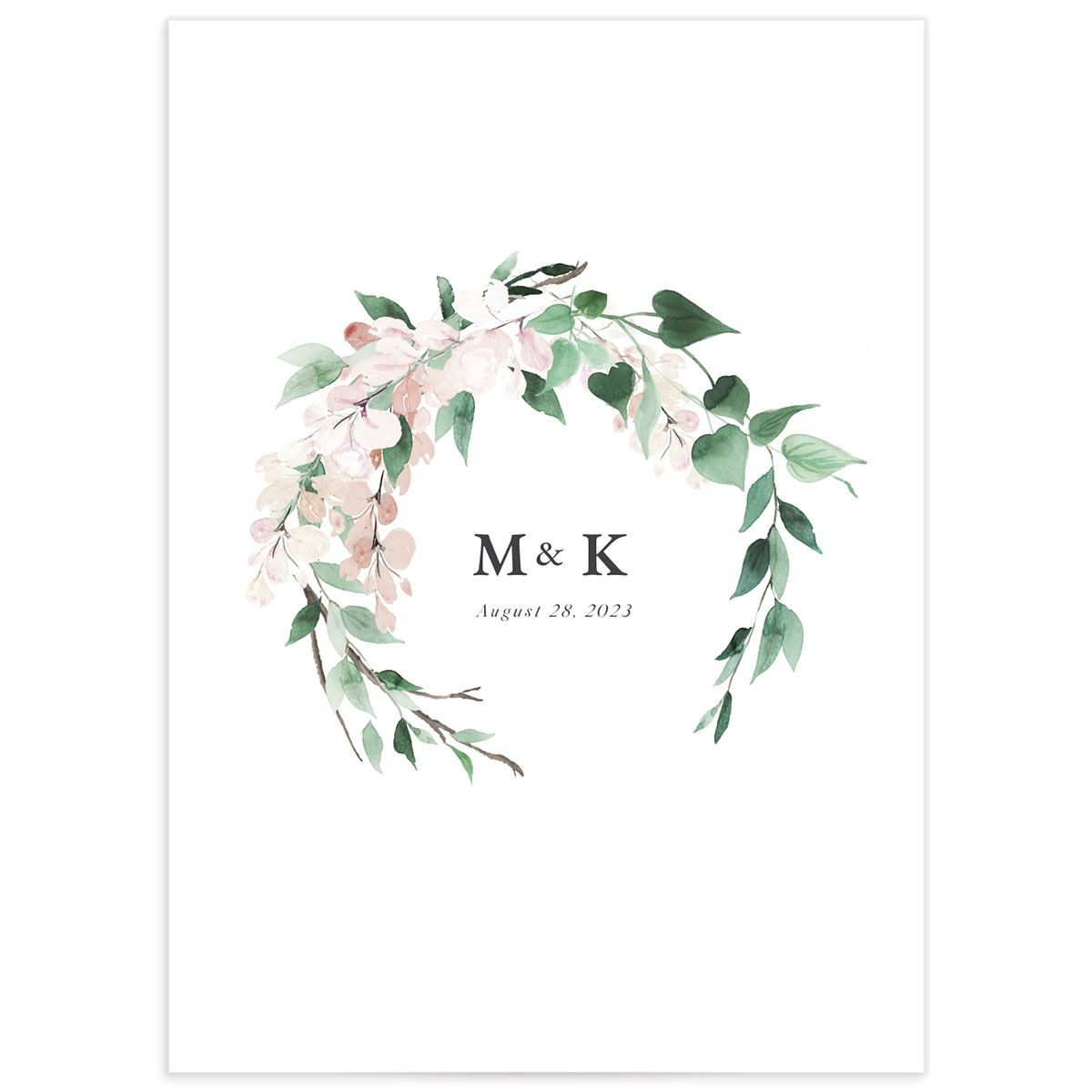 Romantic Wisteria Enclosure Card back in pink