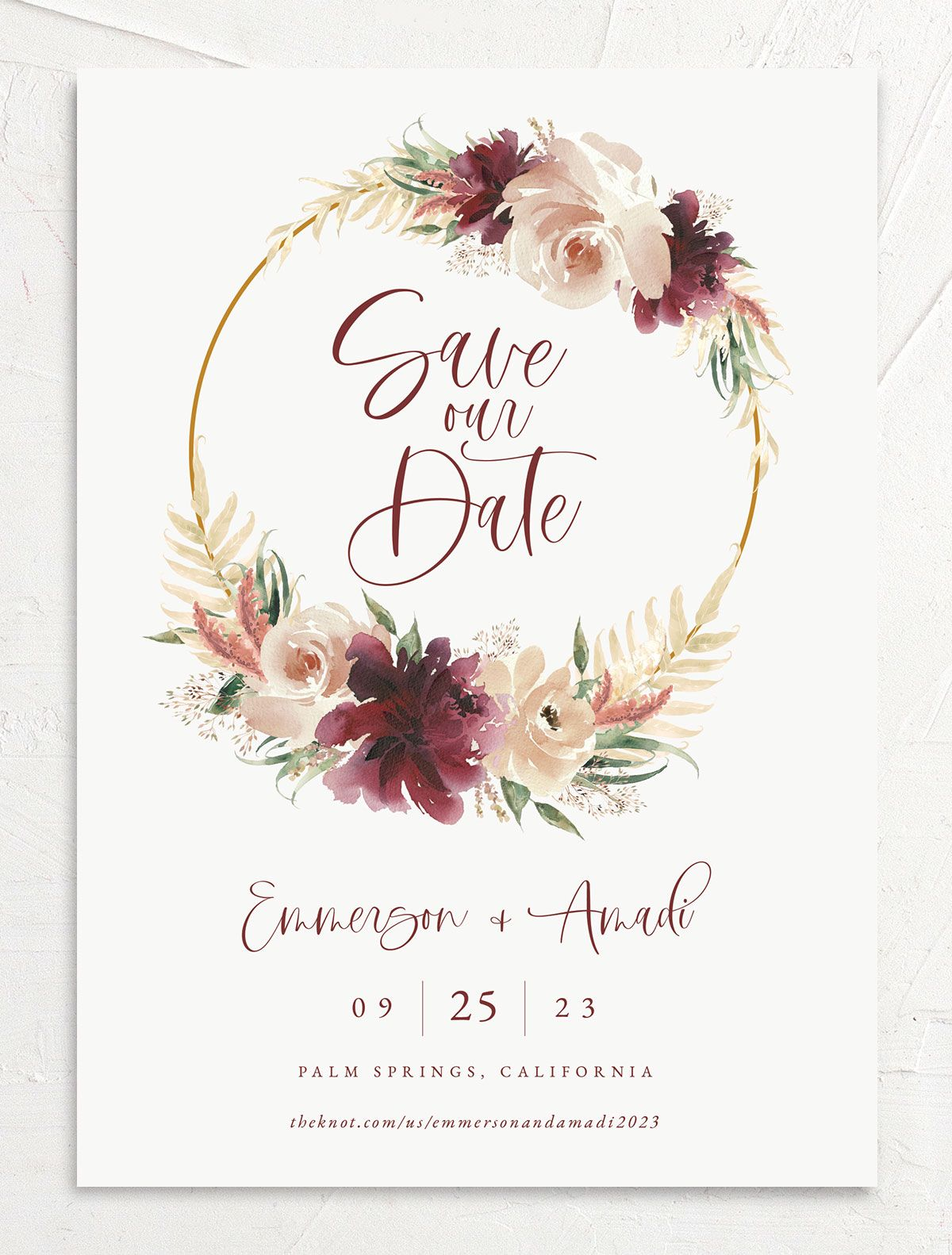 Floral Wreath save the date front