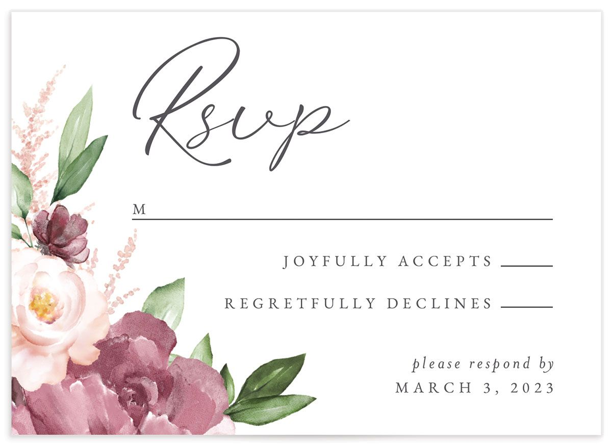 Beloved Floral Response Card front closeup in pink