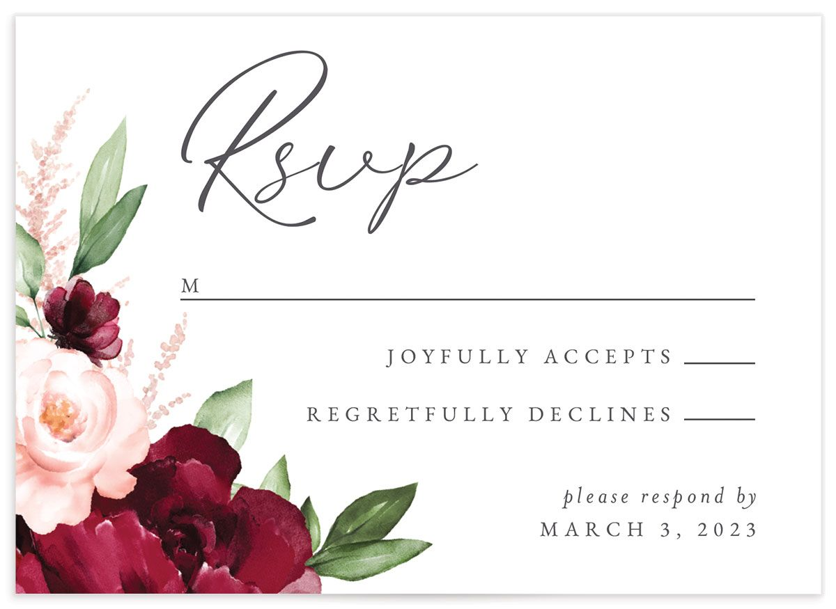 Beloved Floral Response Card front closeup in red