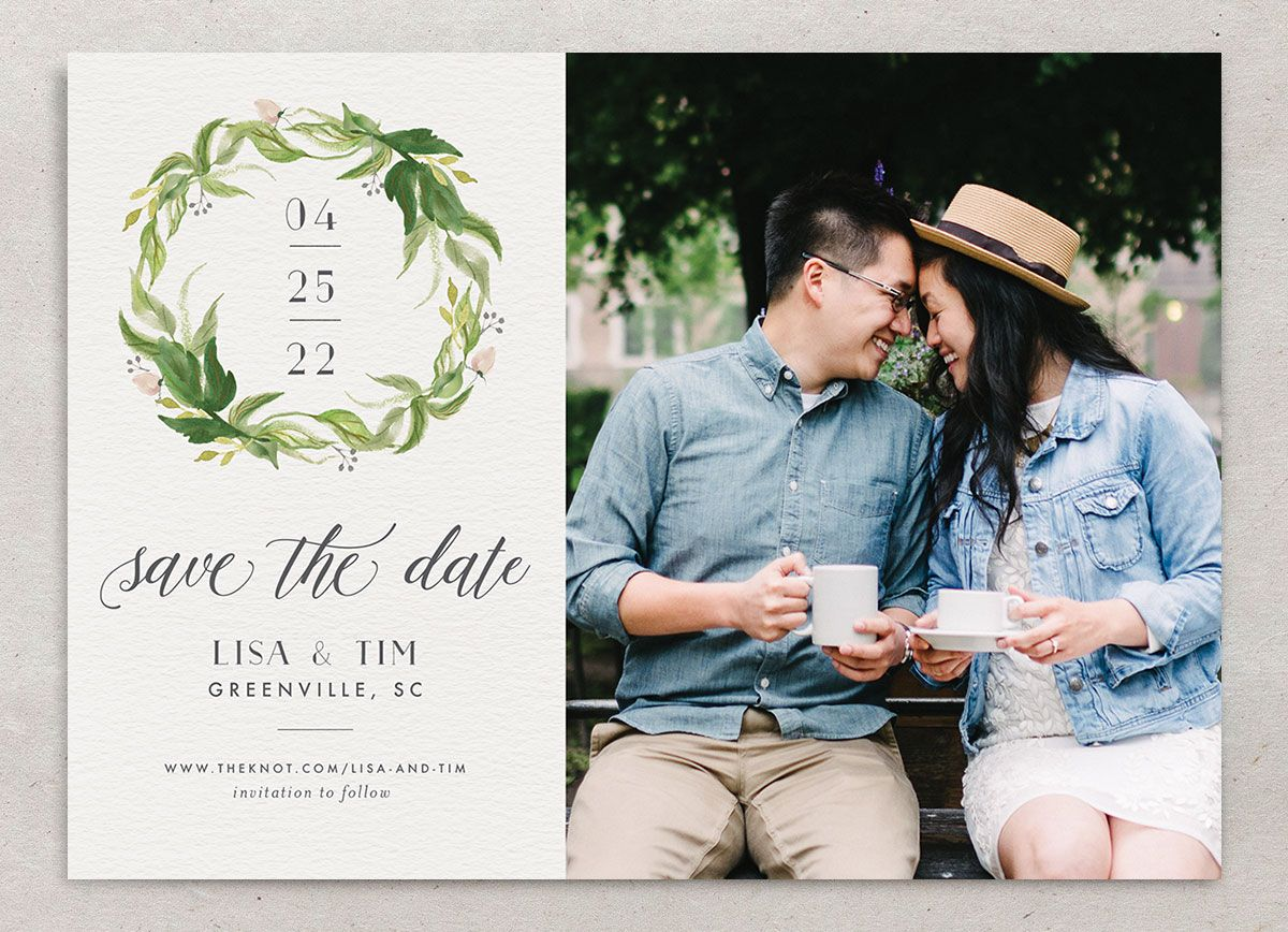 Leafy Wreath Wedding Save the Date Card front green