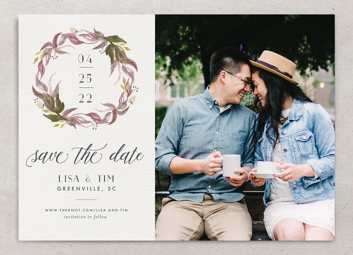 Leafy Wreath Wedding Save the Date Card front purple