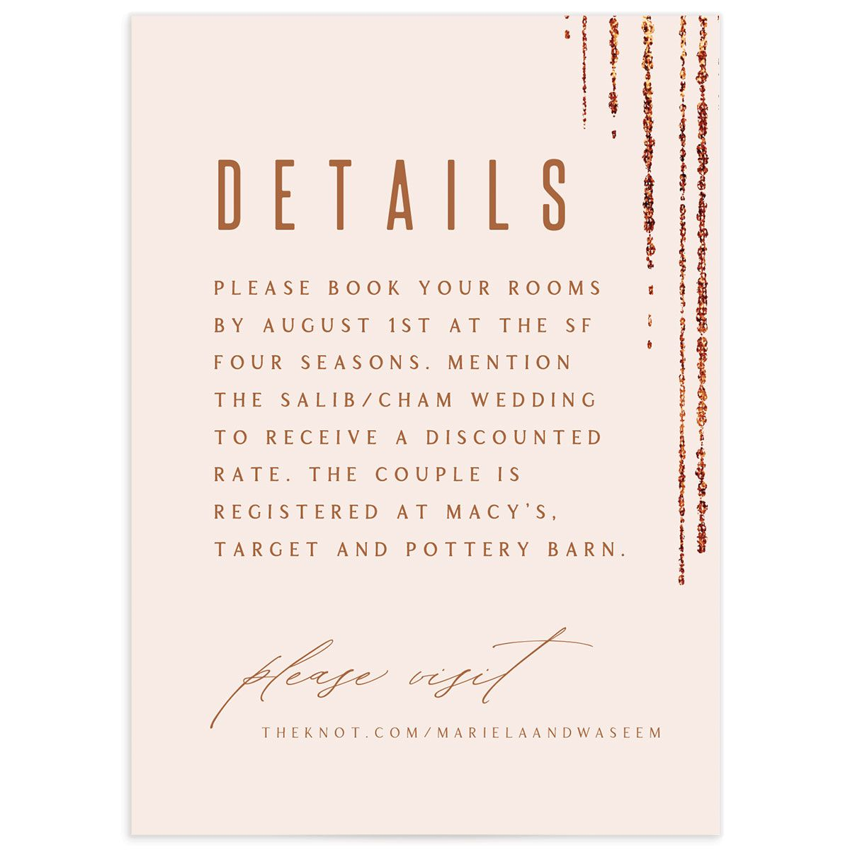 Classic Cascade Wedding Enclosure Card in pink