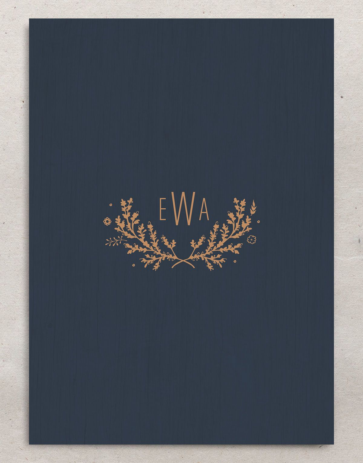 Rustic Chic Save the Date Card back navy