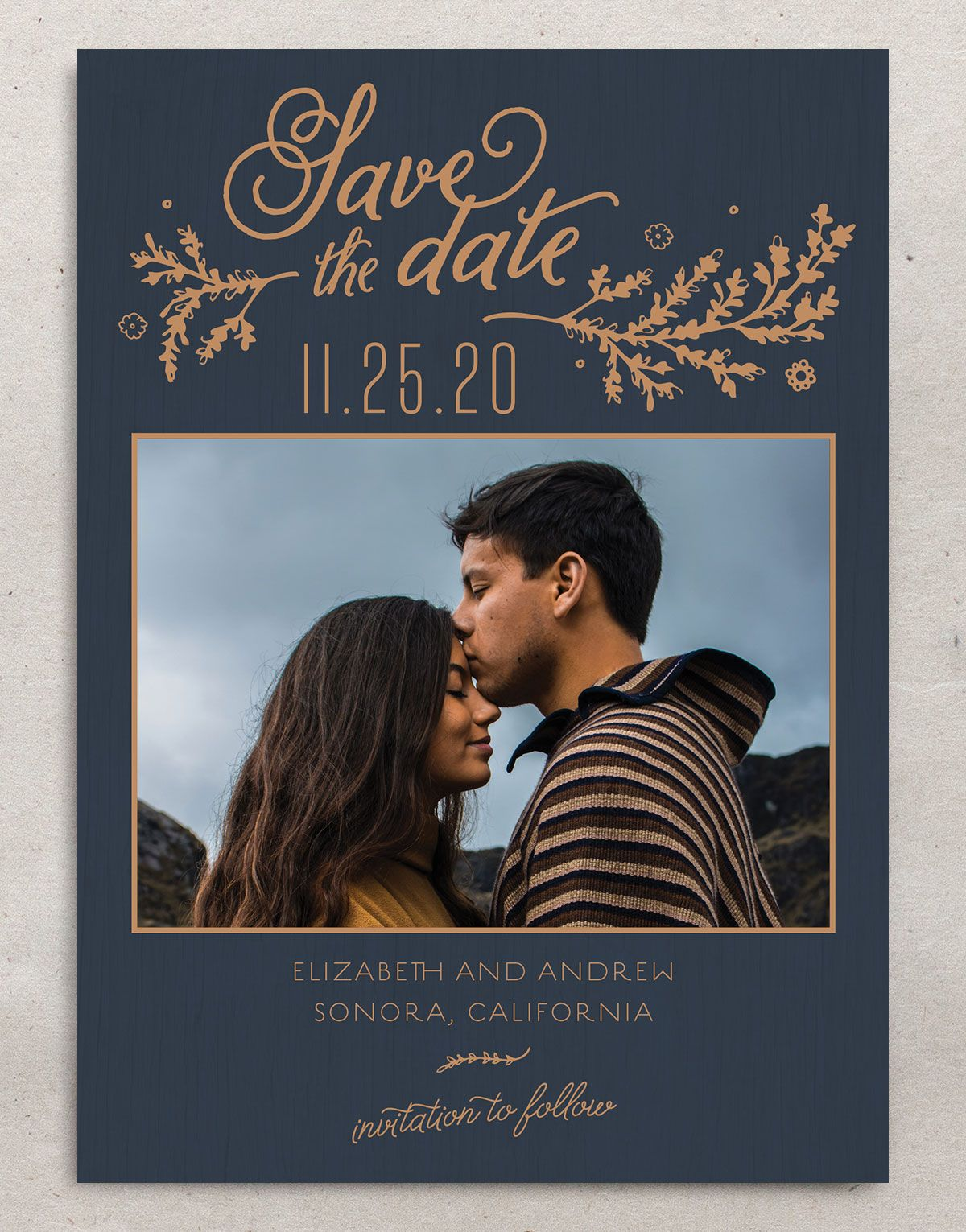 Rustic Chic Save the Date Card front navy
