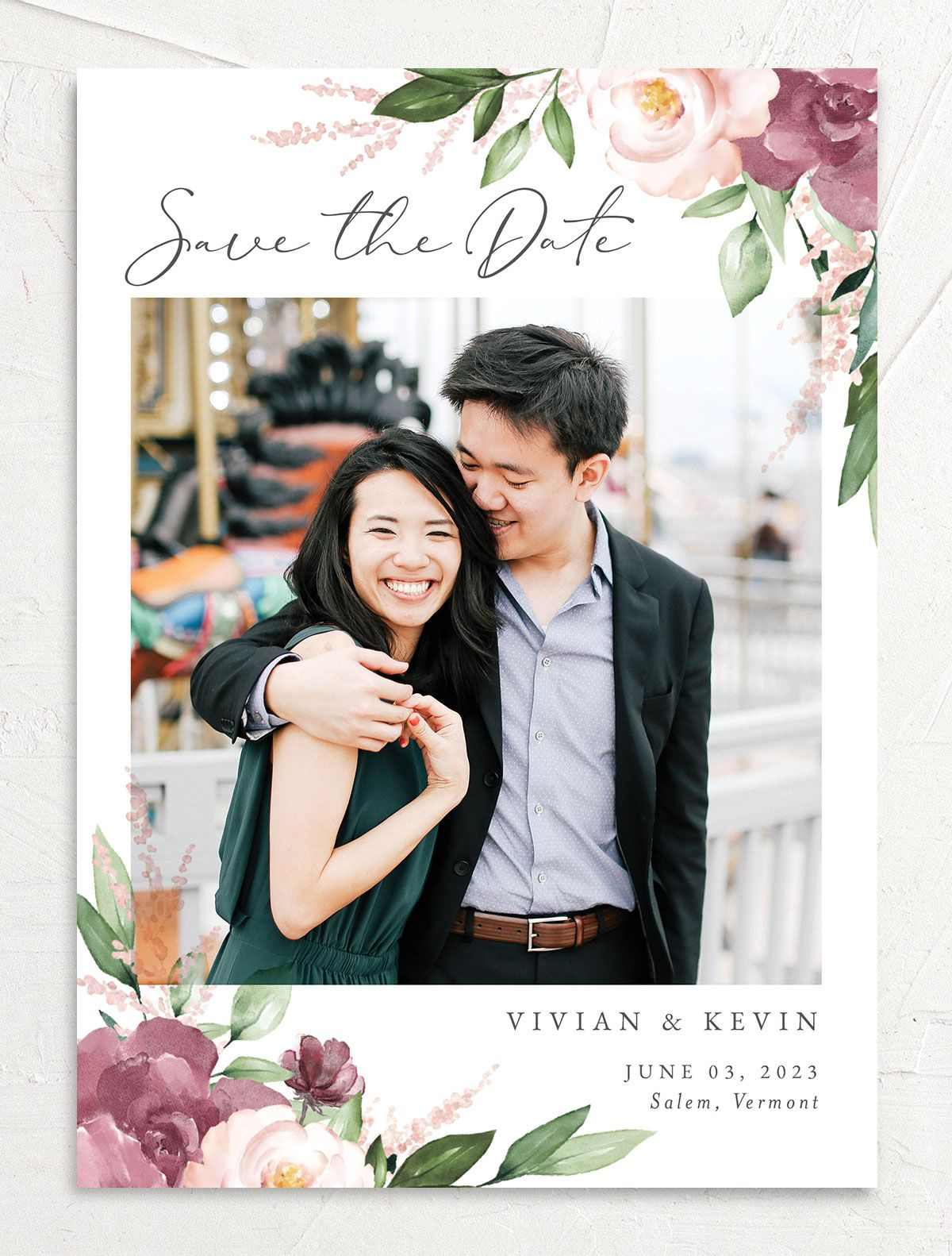 Beloved Floral Save the Date Card front in pink