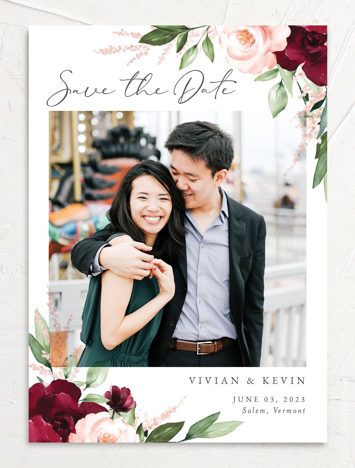 Beloved Floral Save the Date Card front in red