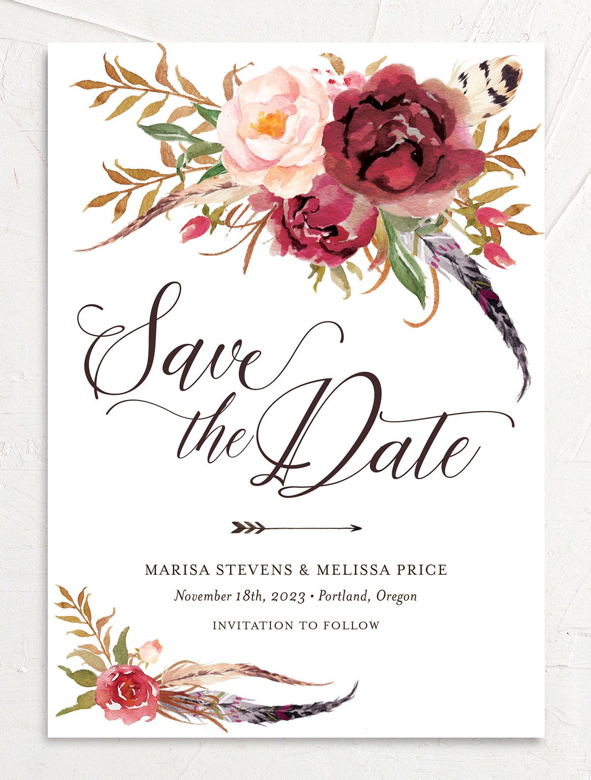 Bohemian Floral Save the Date Card front burgundy