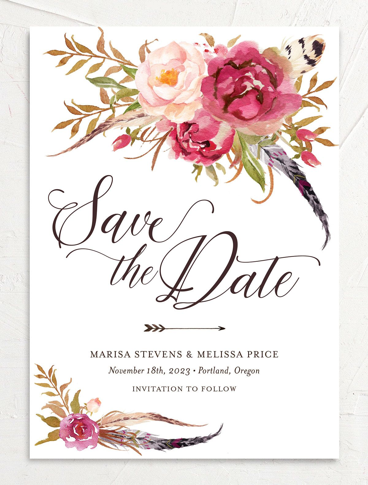 Bohemian Floral Save the Date Card front pink