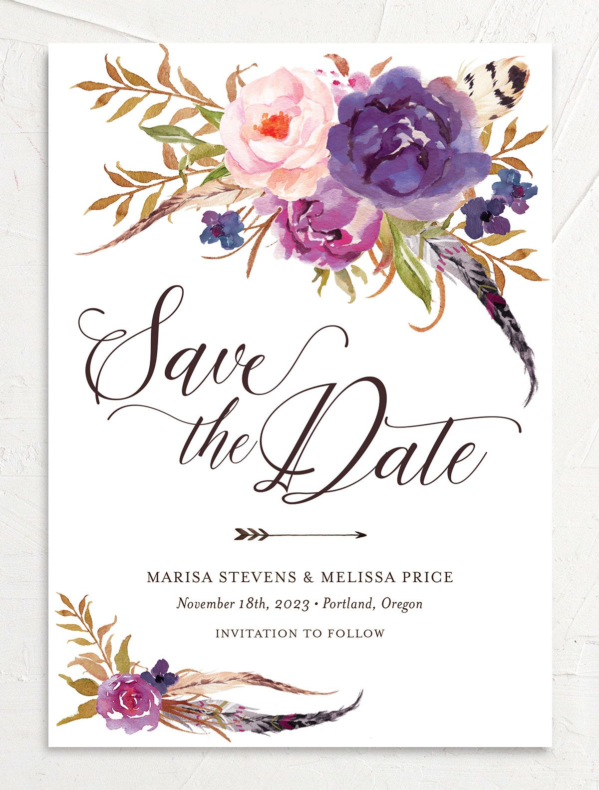 Bohemian Floral Save the Date Card front purple
