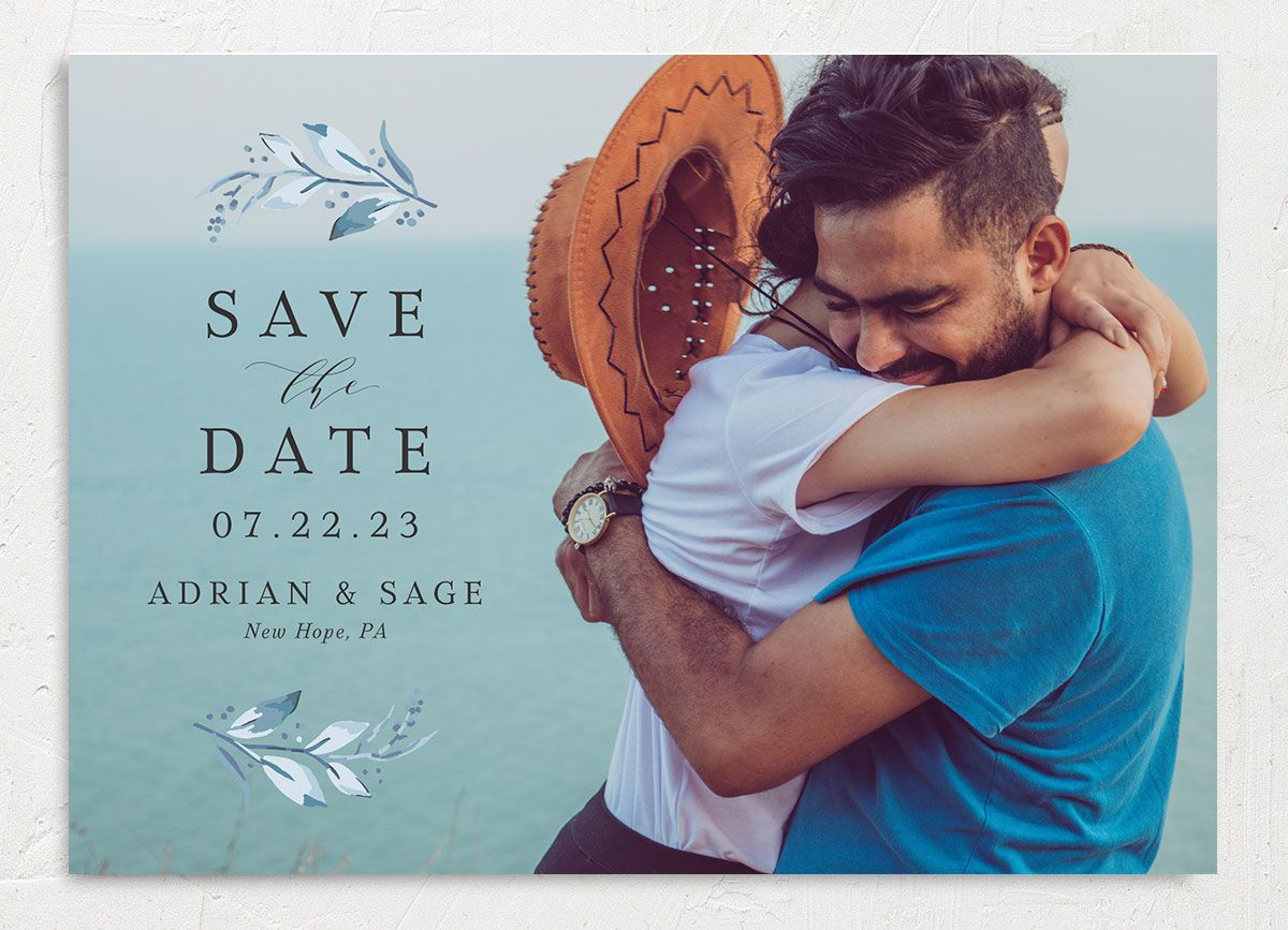 Classic Greenery Save the Date Card front closeup in blue