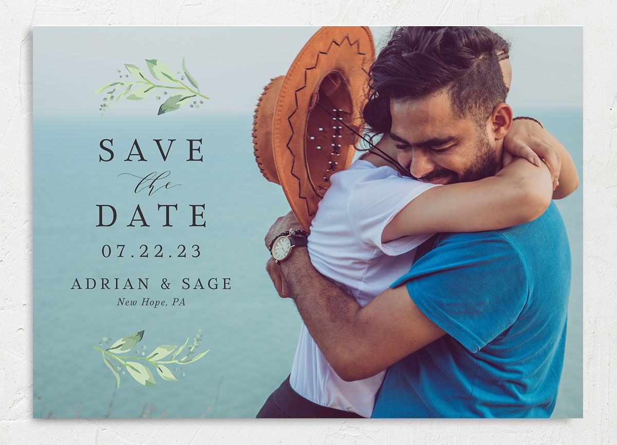 Classic Greenery Save the Date Card front closeup in pink