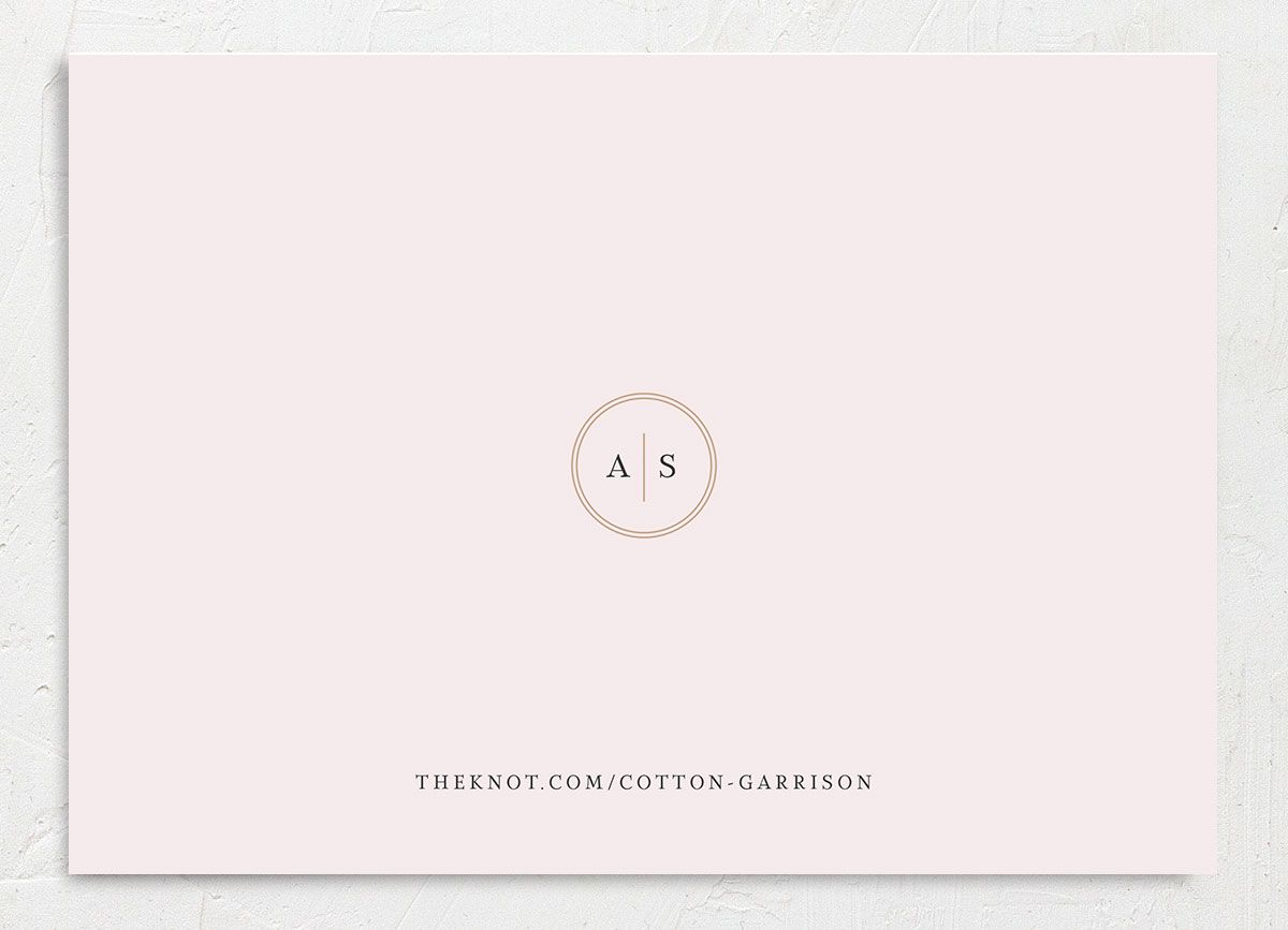 Classic Greenery Save the Date Card back closeup in pink