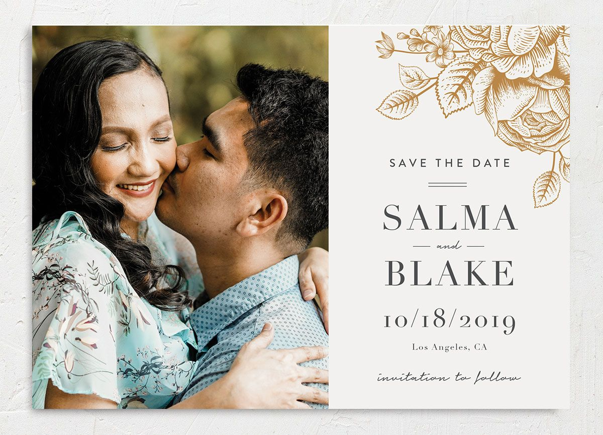 Etched Botanical Wedding Save the Date Card front