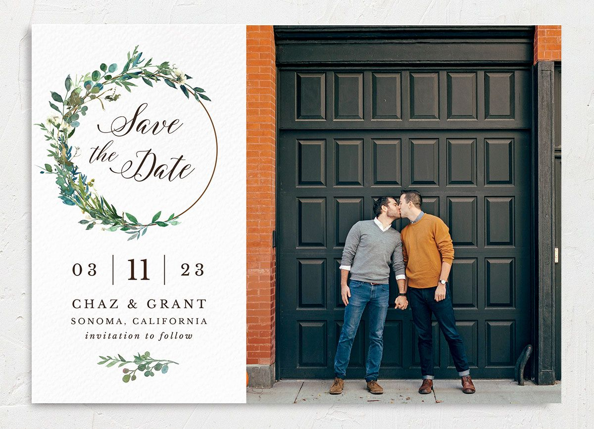 Greenery Hoop Save the Date Card front