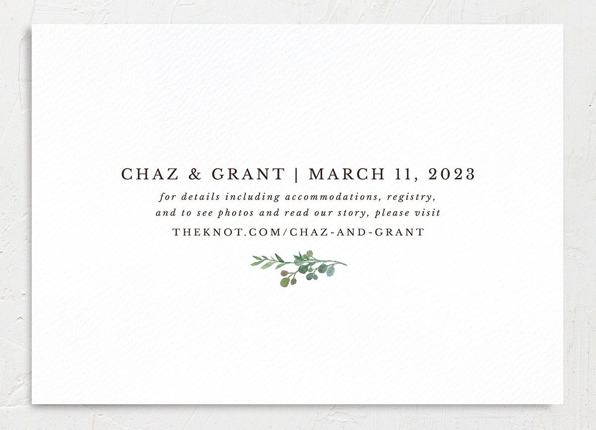 Greenery Hoop Save the Date Card back