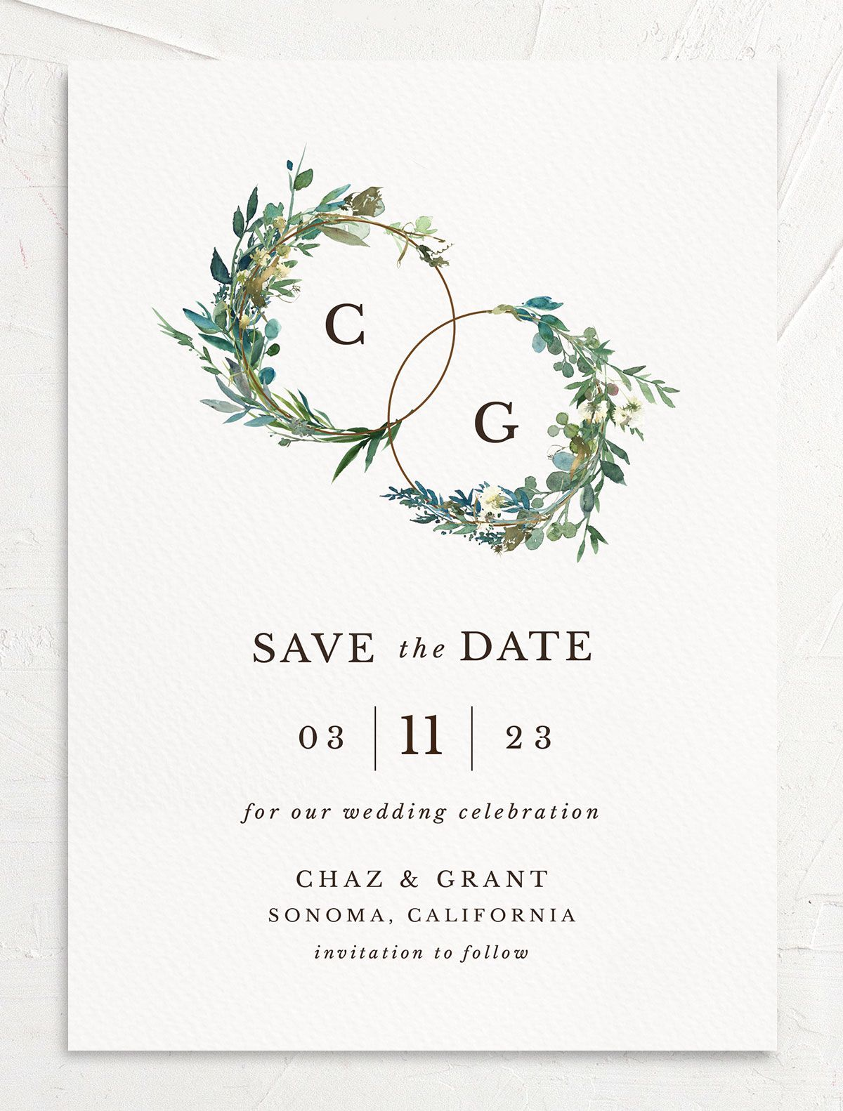 Leafy Hoops Save the Date Card front