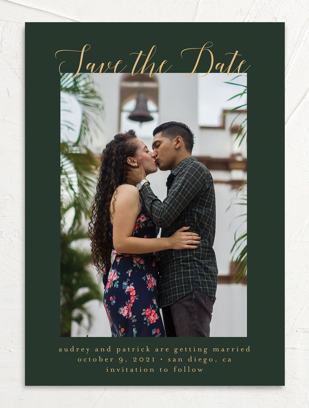 Marble and Gold Save the Date Card front green