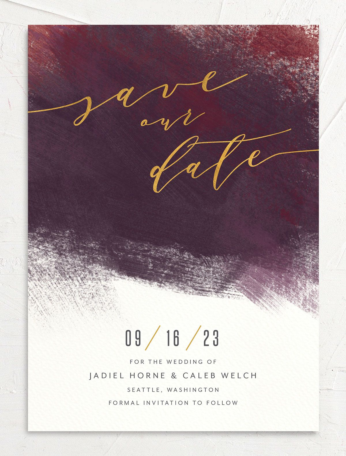 Modern Brushstroke Save the Date Card front burgundy