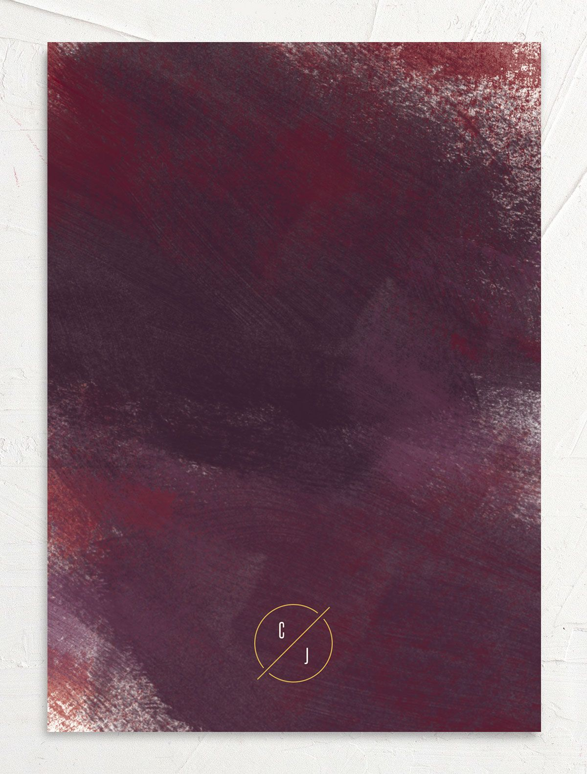 Modern Brushstroke Save the Date Card back burgundy