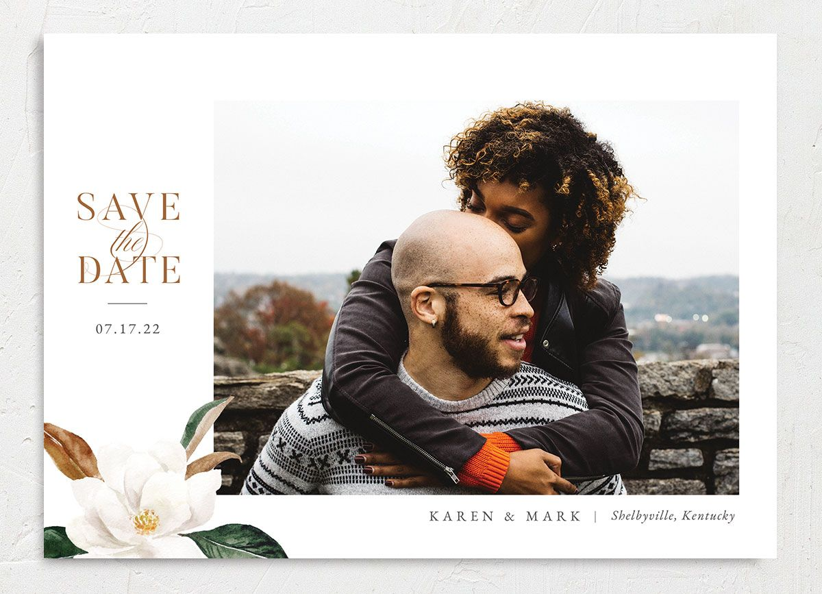 Painted Magnolia Save the Date Card front in all colors