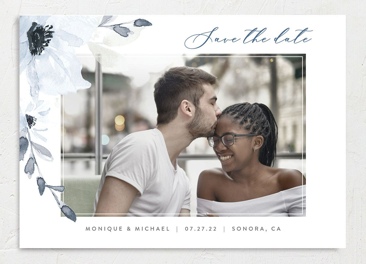 Shades of Blue Wedding Save the Date Card front