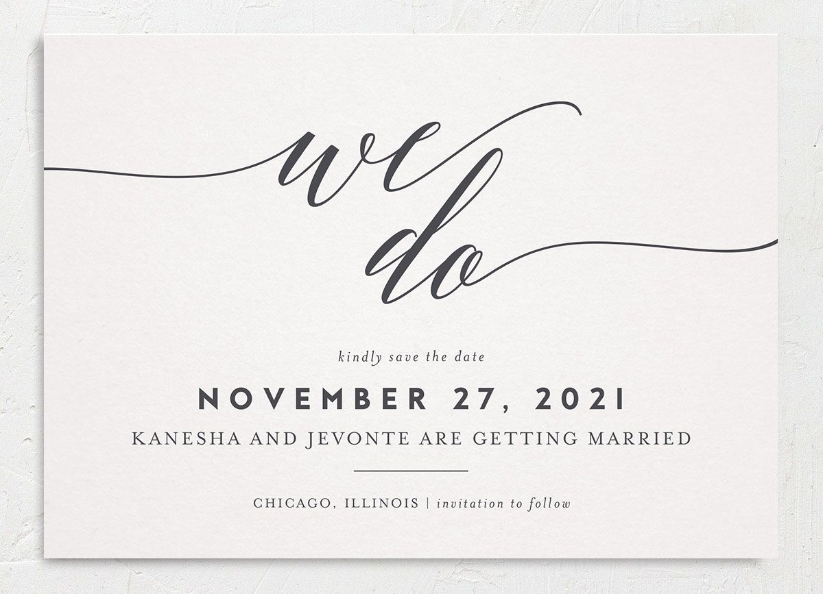 We Do Save the Date Card front grey