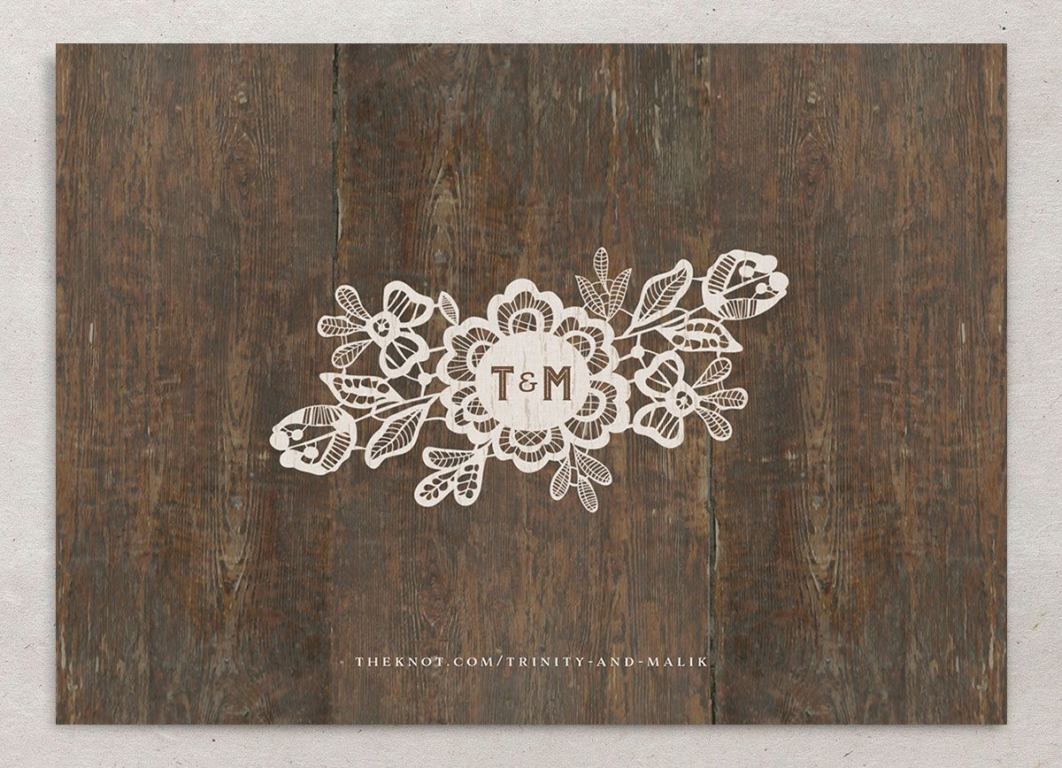Wood and Lace Save the Date Card back