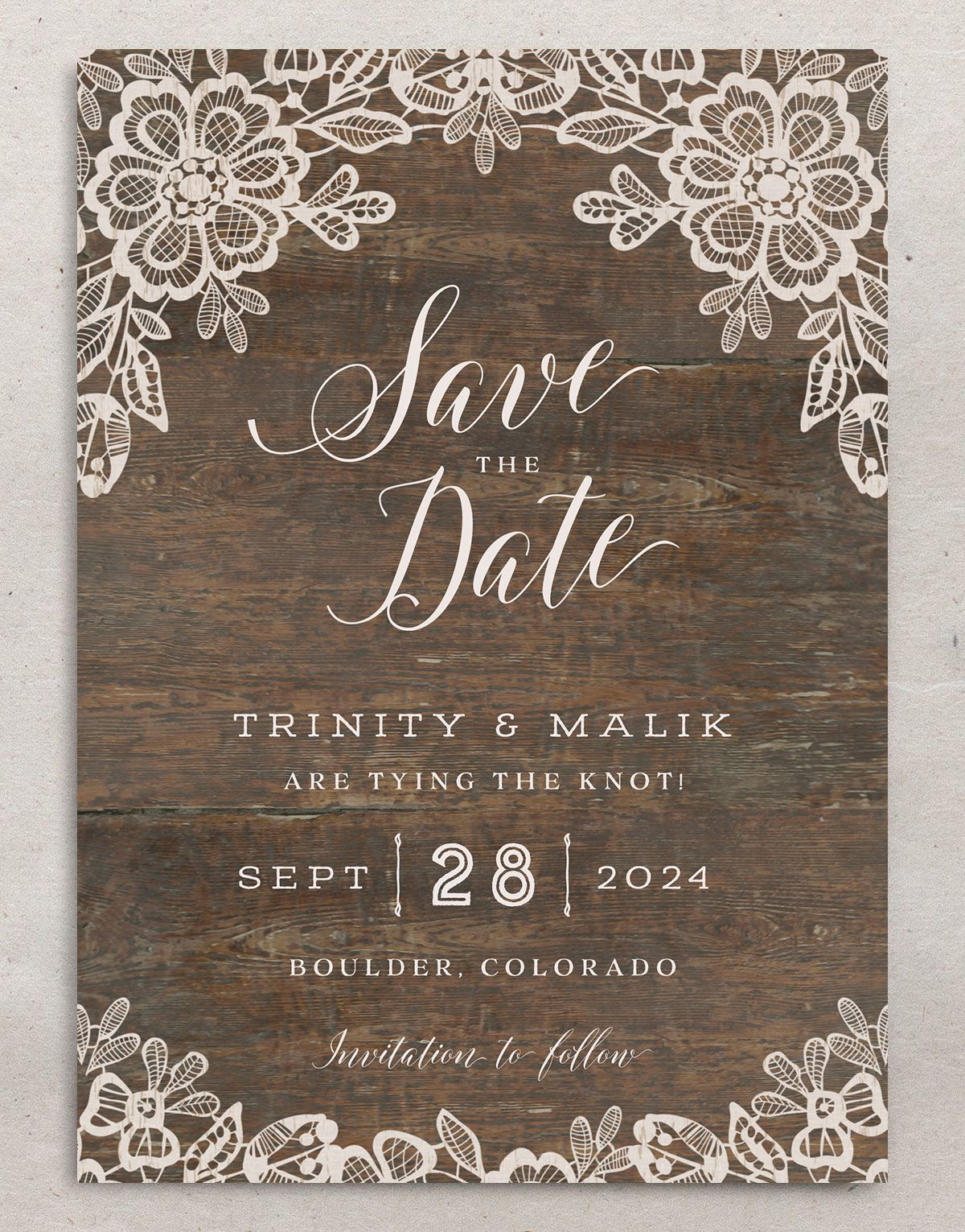 Woodgrain Lace Wedding Save the Date Card front
