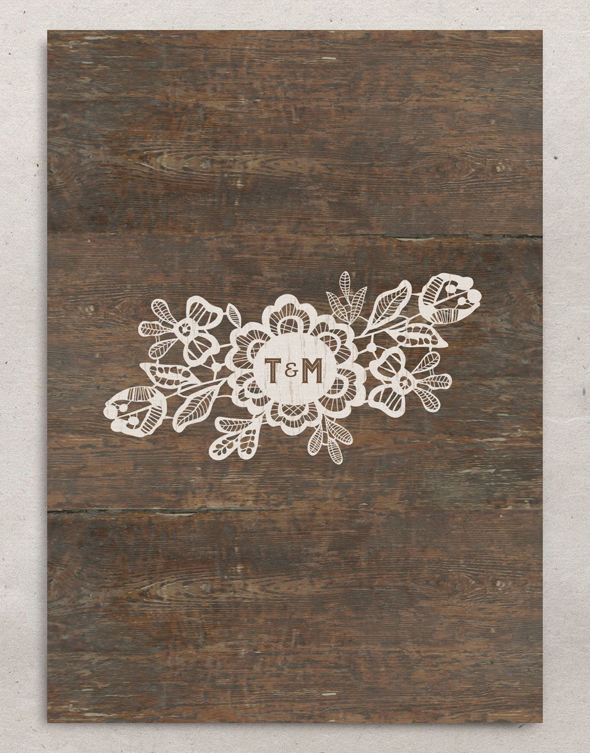 Woodgrain Lace Wedding Save the Date Card back