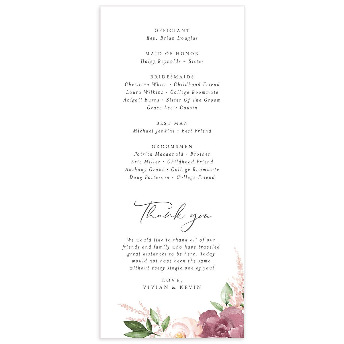 Beloved Floral Wedding Program back in pink