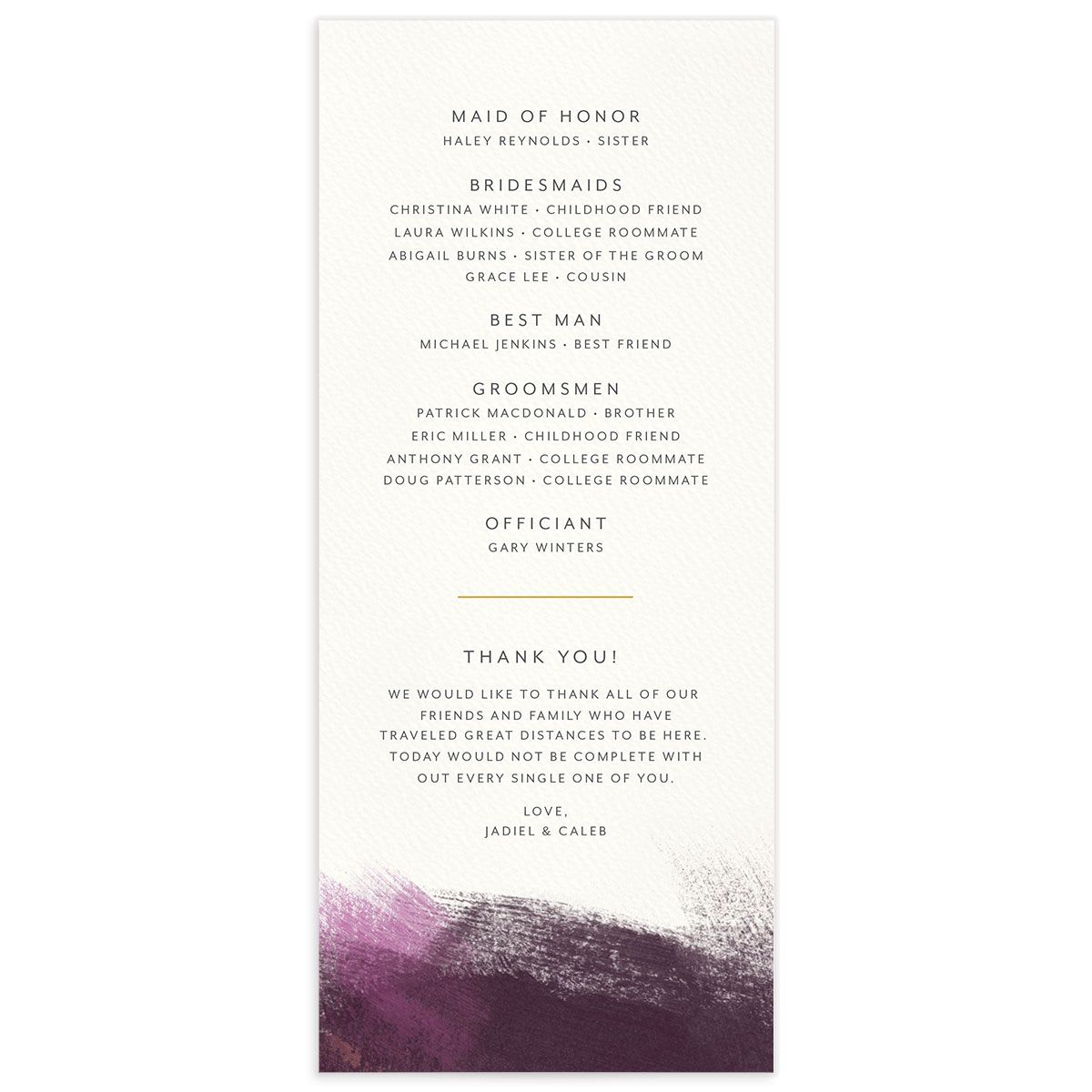 Modern Brushstroke Wedding Program back purple