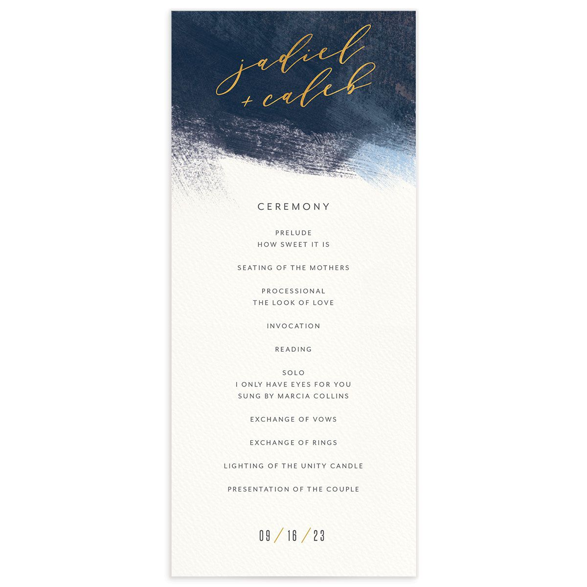 Modern Brushstroke Wedding Program front blue