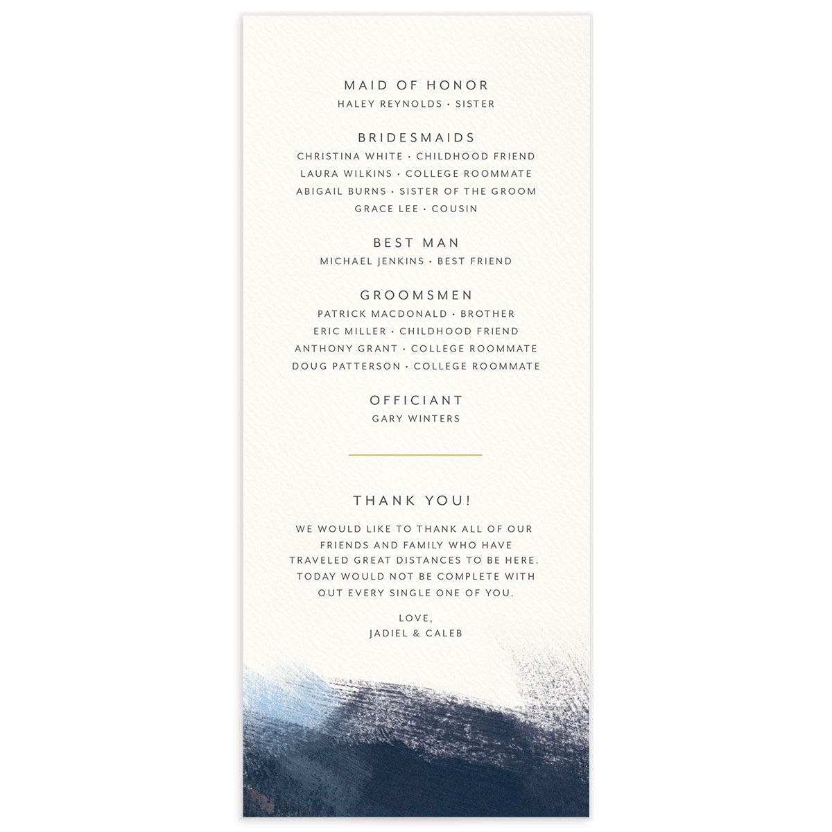Modern Brushstroke Wedding Program back blue