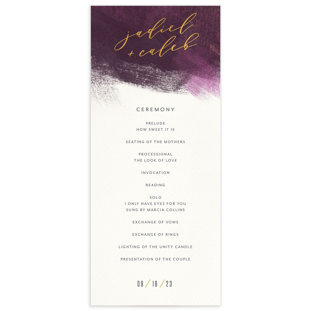 Modern Brushstroke Wedding Program front purple