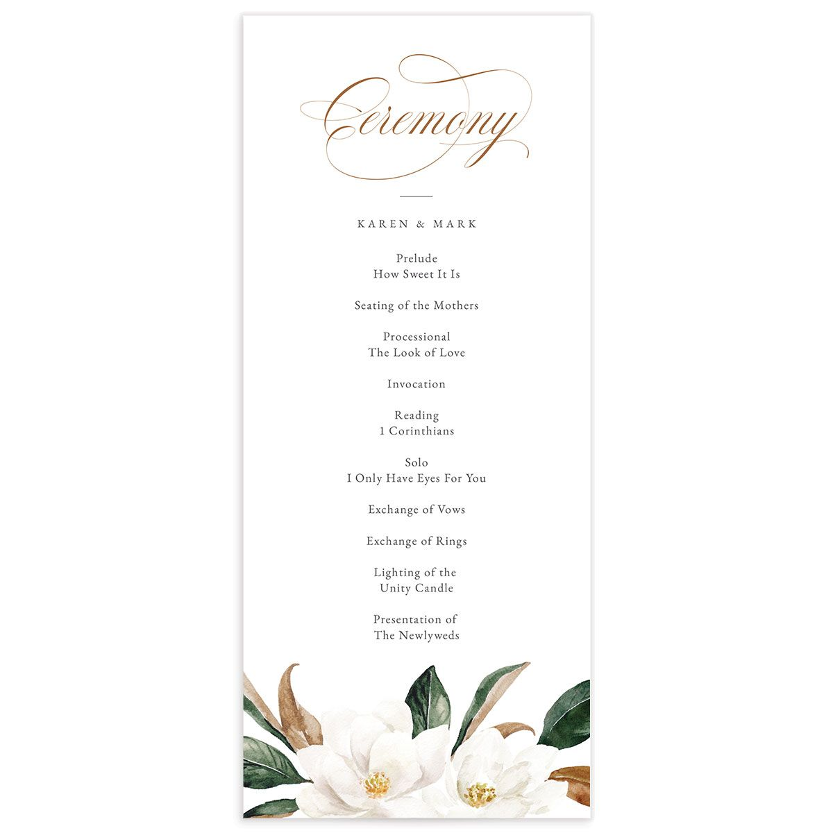 Painted Magnolia Wedding Program front in all colors