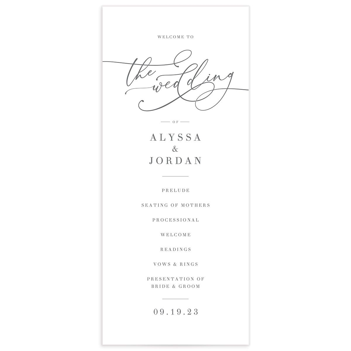Romantic Calligraphy Wedding Program Card front grey