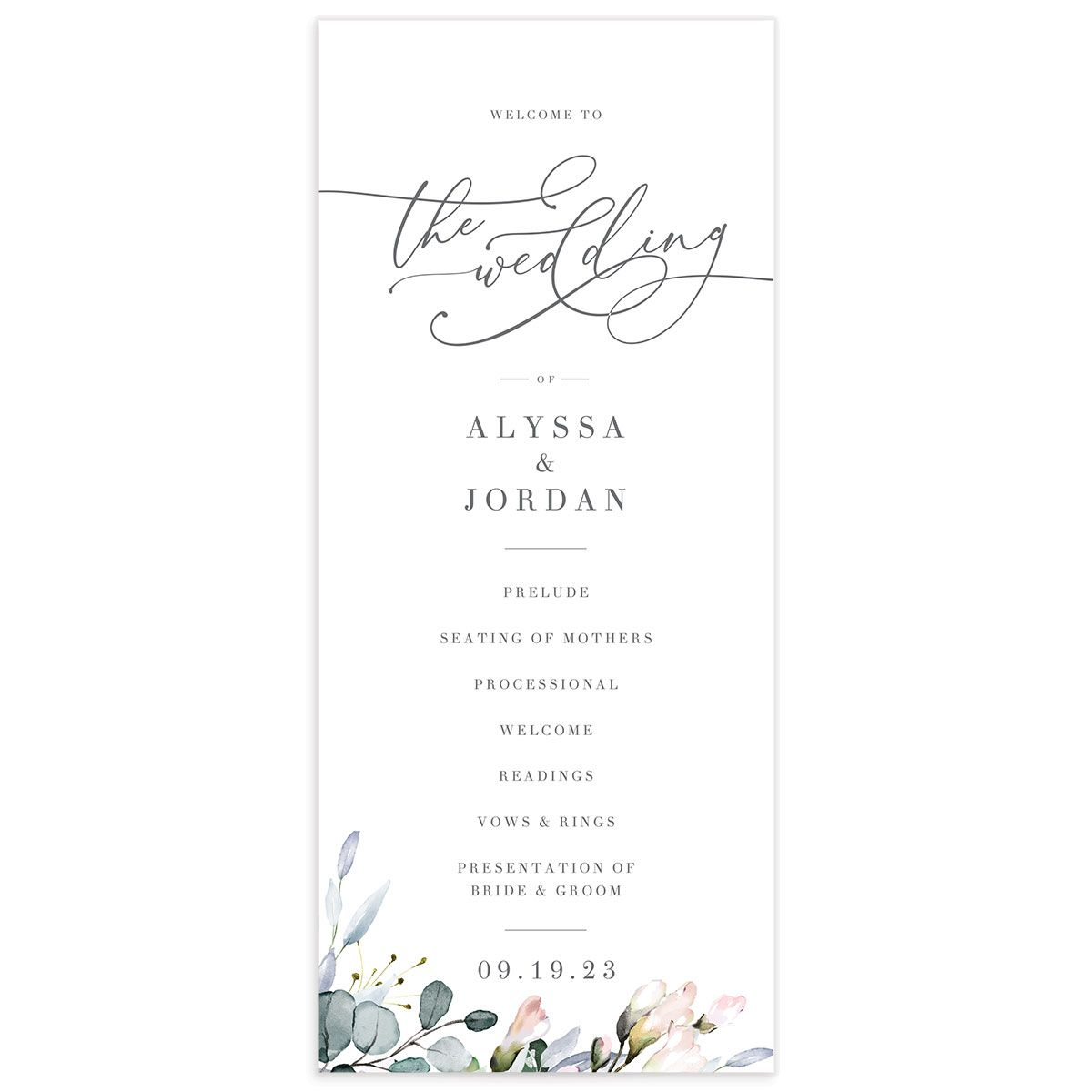 Romantic Calligraphy Wedding Program Card front mulberry