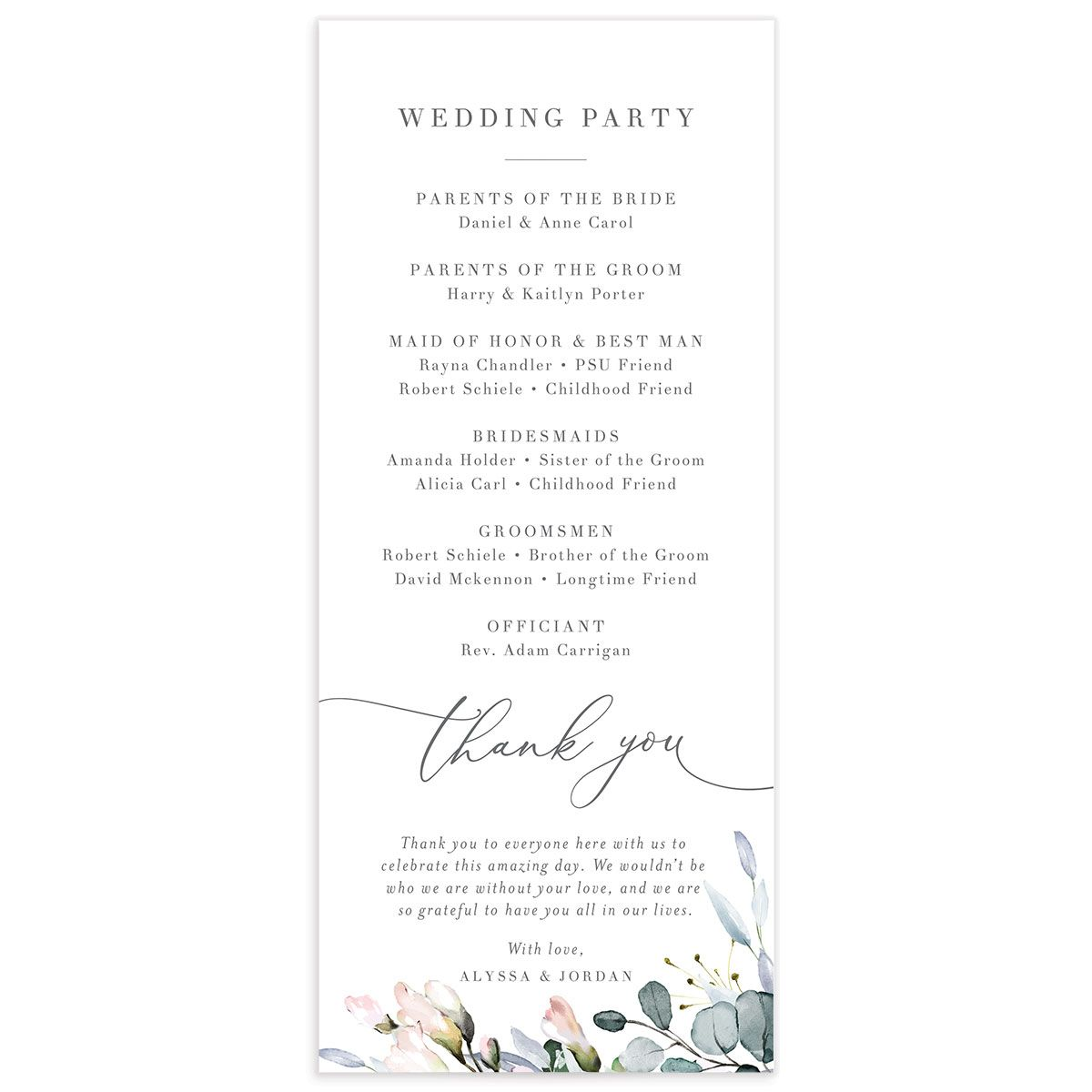 Romantic Calligraphy Wedding Program Card back mulberry