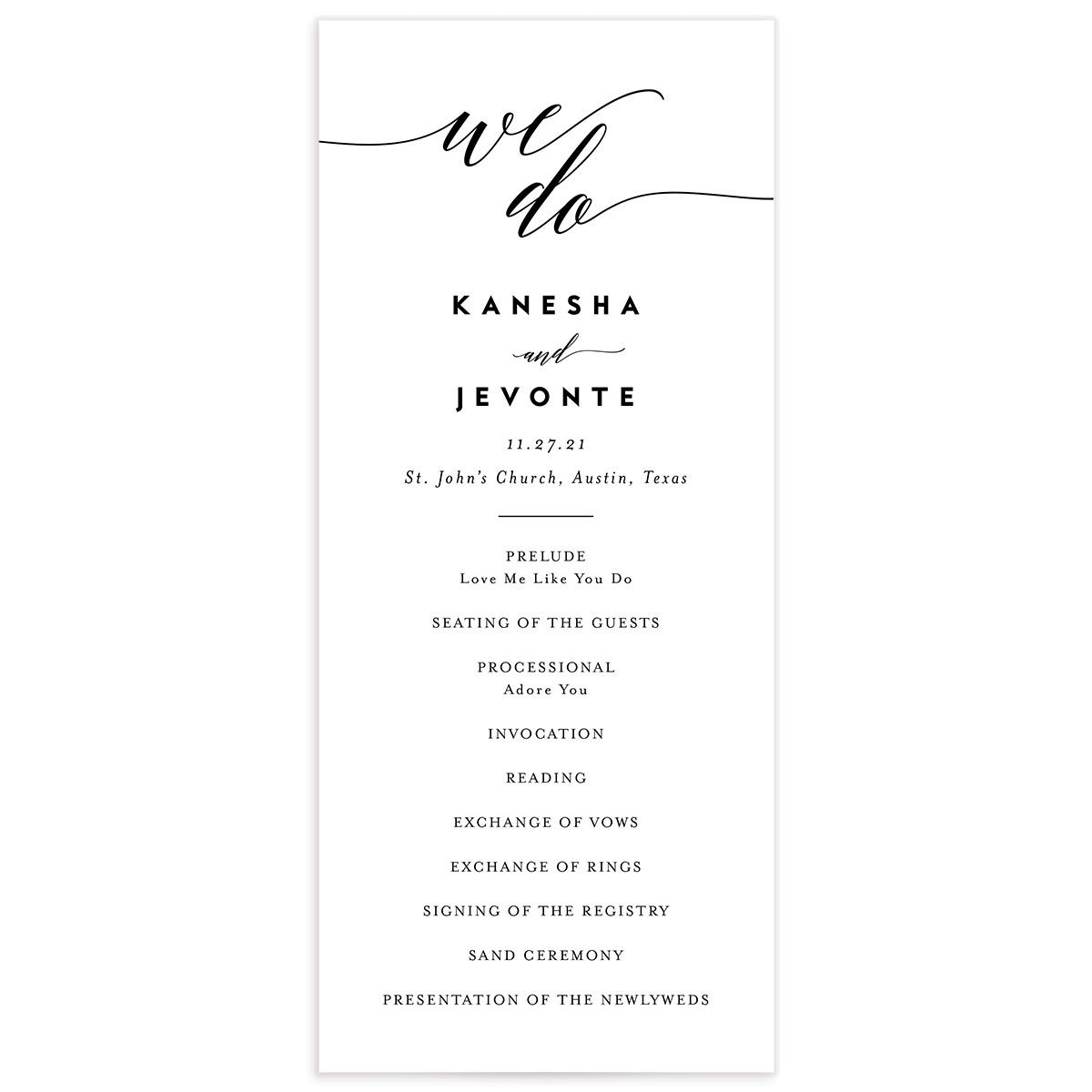We Do Wedding Program Card front black