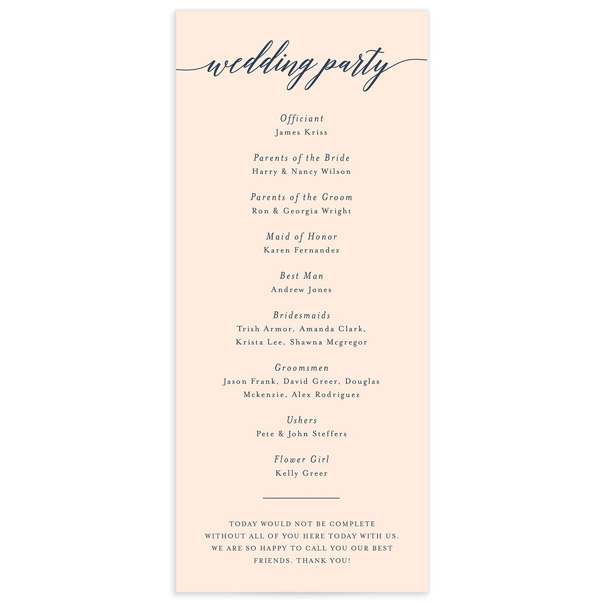 We Do Wedding Program Card back pink