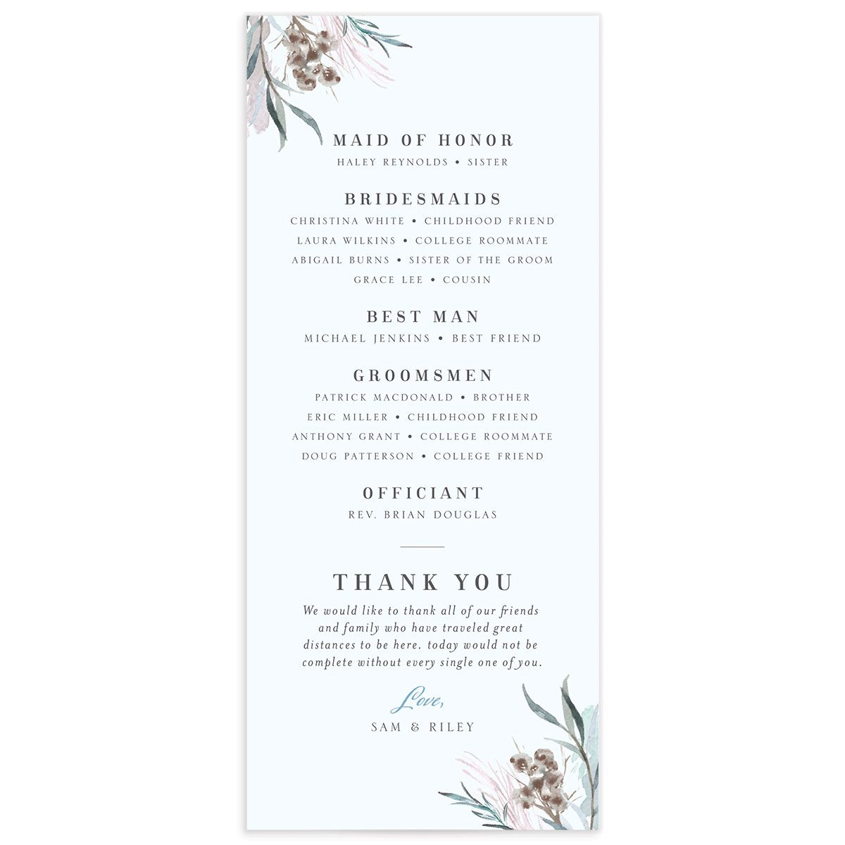 Wild Wreath Ceremony Card back blue