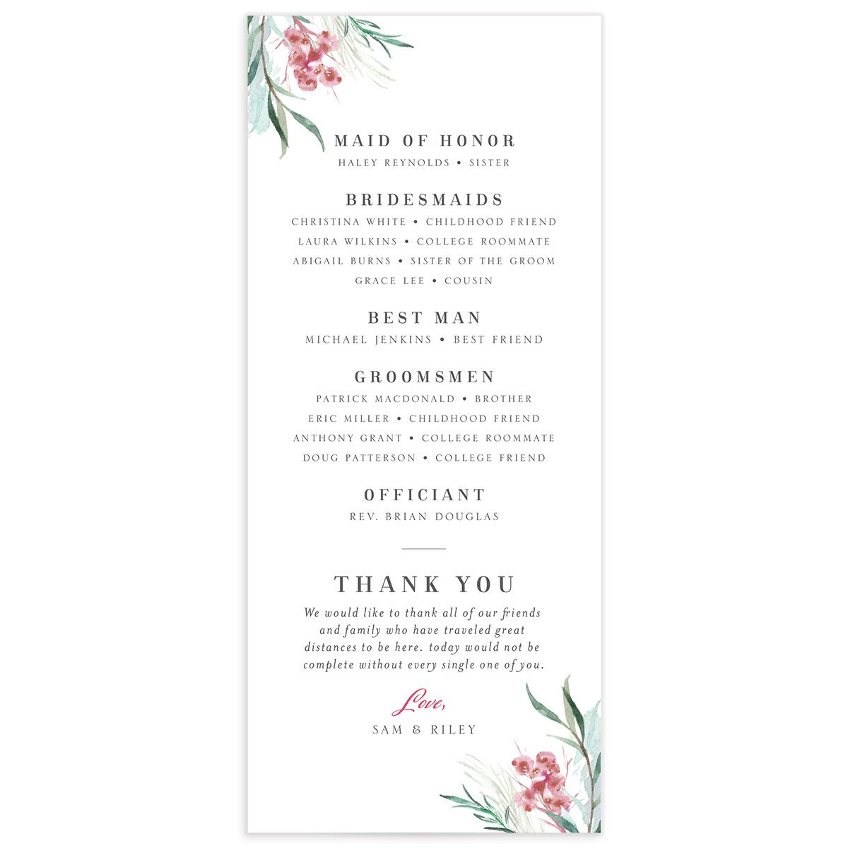 Wild Wreath Ceremony Card back green