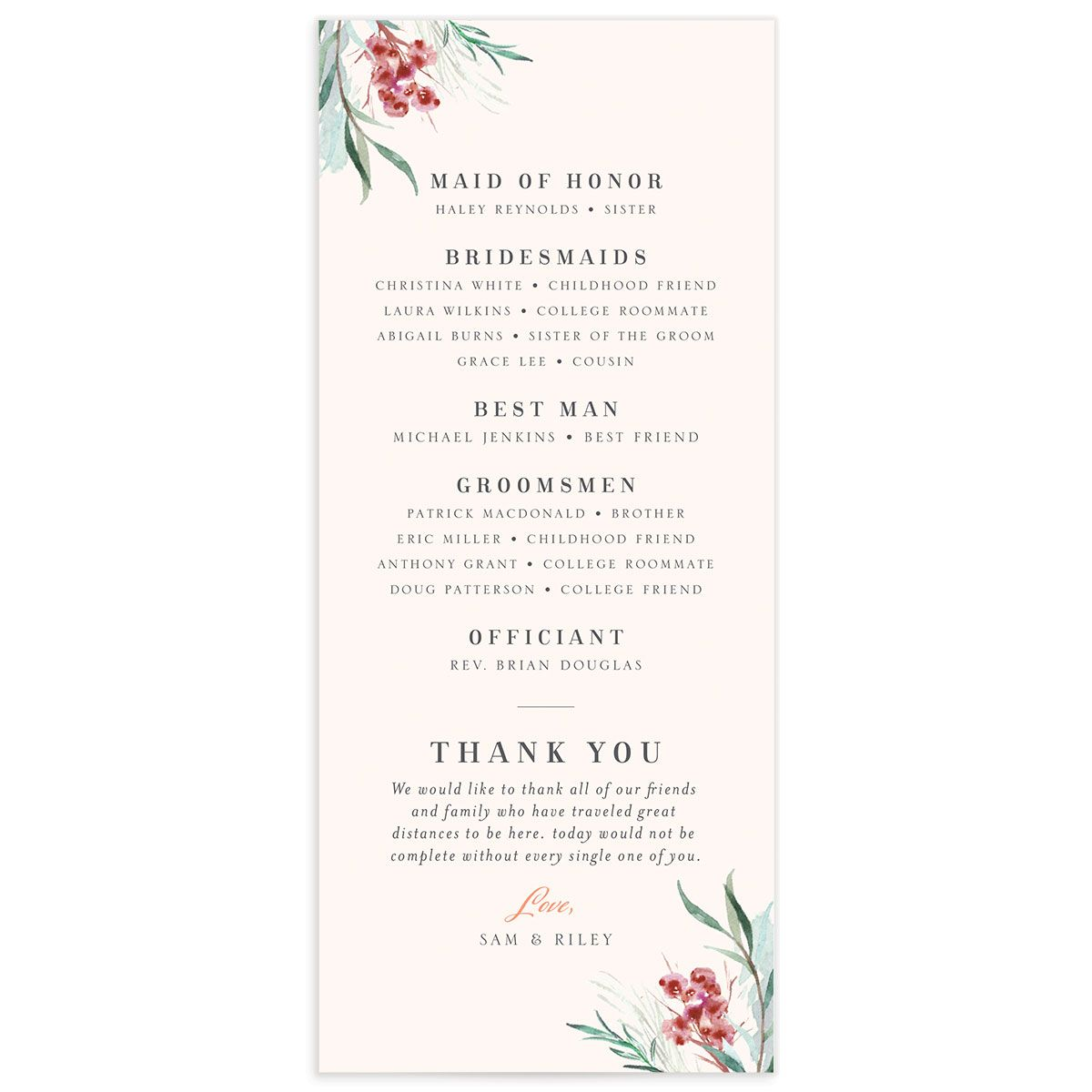 Wild Wreath Ceremony Card back pink
